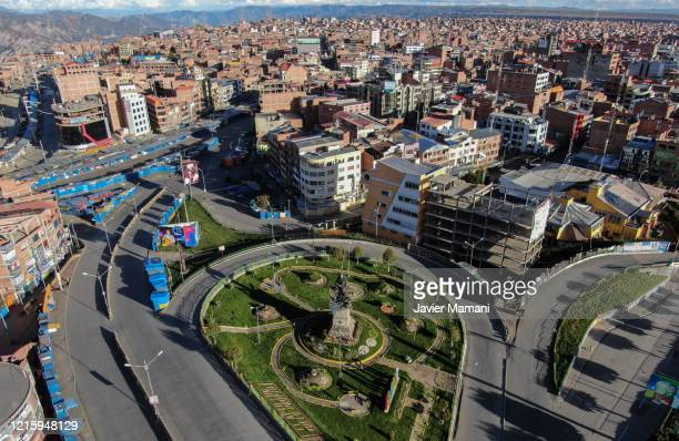 Aerial view of the empty streets under national quarantine on March 29, 2020 in El Alto, Bolivia. Bolivia has set a lock down to prevent spread of...