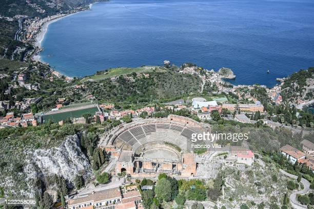 Aerial view of the empty Teatro Antico of Taormina on May 01 2020 in Taormina Italy Italy is still on lockdown to stem the transmission of the...