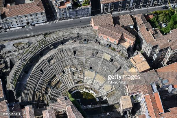 Aerial view of the empty Teatro Romano of Catania on May 01 2020 in Catania Italy Italy is still on lockdown to stem the transmission of the...