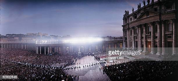 Aerial view of the enourmous crowd assembled for an outdoor mass at the investiture of Pope John Paul II in the Vatican City, October 22, 1978.