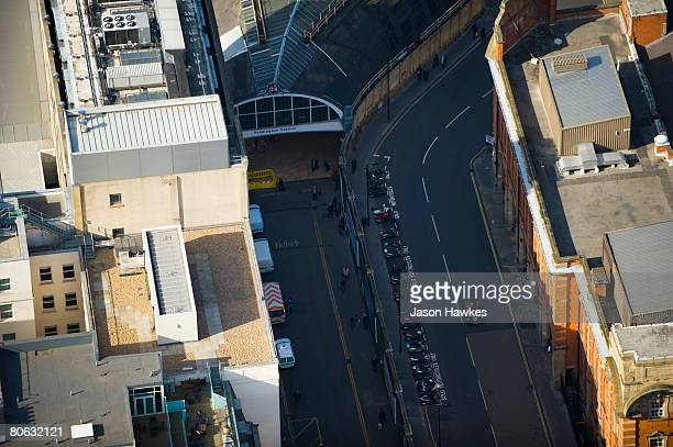 Aerial view of the entrance to Paddington Station on March 25 2008 in London UK