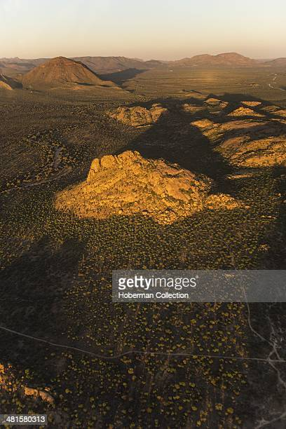 Aerial View Of The Erongo Mountain Range In Namibia From A light Aircraft Flying From Swakopmund To Otjiwarongo