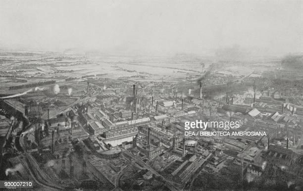 Aerial view of the establishments Krupp, Essen, Germany, engraving, from L'illustrazione Italiana, Year XXIX, No 48, November 30, 1902.