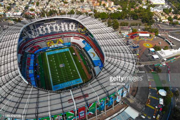 Aerial view of the Estadio Azteca's pitch a day before the NFL Monday night at Azteca Stadium on November 17 2019 in Mexico City Mexico The Azteca...