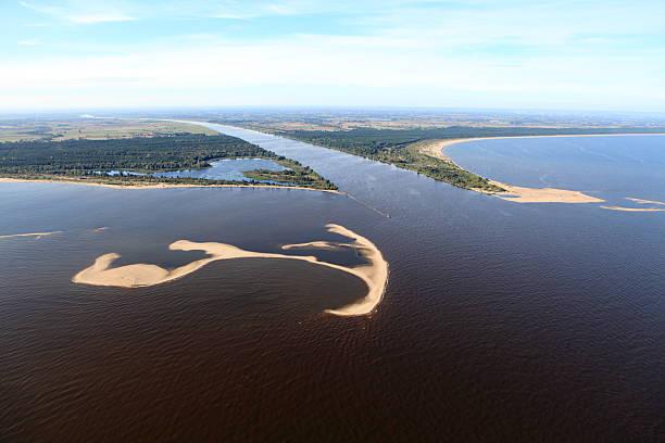 Aerial view of the estuary. Vistula river