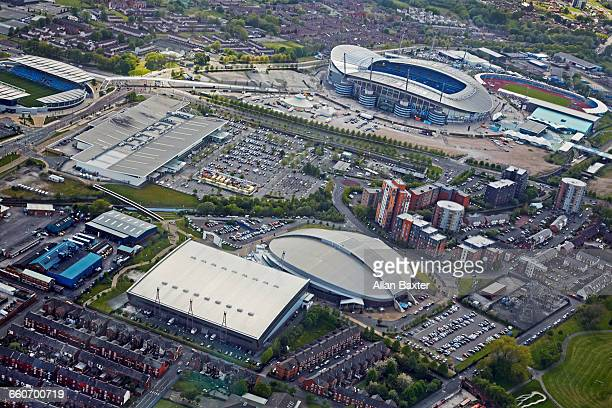 aerial view of the etihad, home of manchester city - stadium stock pictures, royalty-free photos & images