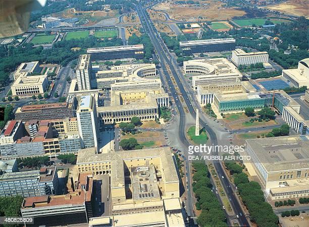Aerial view of the EUR district with Palazzo dei Congressi in Rome Lazio Region Italy
