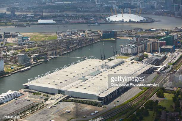 Aerial view of the ExCel Exhibition Centre, Royal Victoria Dock and the Millennium Dome London, UK.