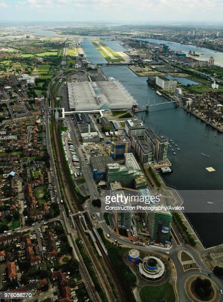 Aerial view of the ExCel Exhibition Centre, Royal Victoria Dock, Royal Albert Dock and City Airport near Canary Wharf, Thames Gateway, London, UK New...