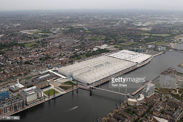 Aerial view of the ExCel which will host a range of events including Boxing, Fencing, Judo, Table Tennis and Taekwondo during the London 2012 Olympic...