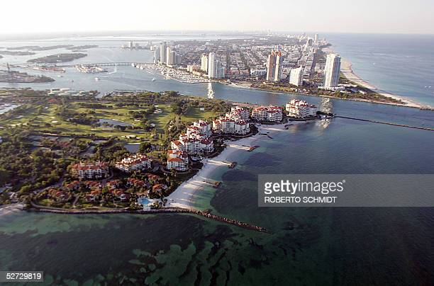 Aerial view of the exclusive Fisher Island residential compound with a view of the southern tip of Miami Beach Florida 24 April 2005 According to the...