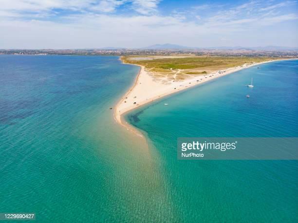 Aerial view of the exotic Potamos - Epanomi Beach sandbank near Thessaloniki city as seen from a drone during the Coronavirus Covid-19 Pandemic Era...