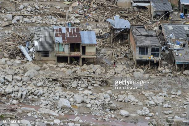 TOPSHOT Aerial view of the extensive damage caused by mudslides as a result of heavy rains in Mocoa Putumayo department Colombia on April 3 2017...