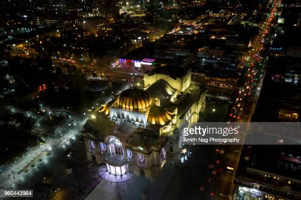 Aerial view of the famous Palace of Fine Arts, Mexico City