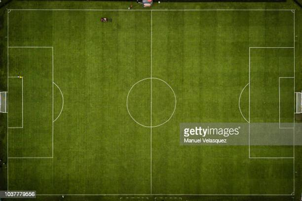 Aerial view of the field of the Hidalgo Stadium prior to the 9th round match between Pachuca and Tigres UANL as part of the Torneo Apertura 2018 Liga...