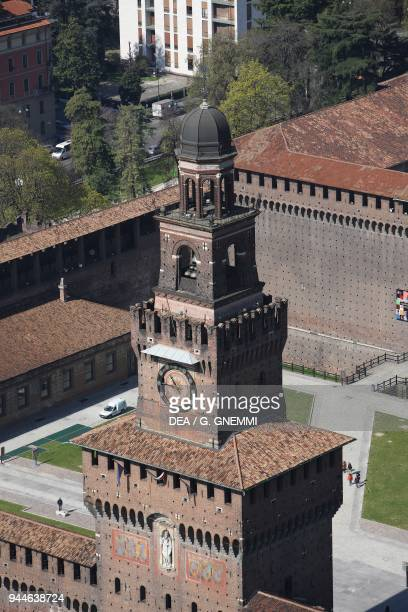 Aerial view of the Filarete Tower Sforza Castle Milan Lombardy Italy 15th century