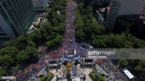 Aerial view of the final rally of the campaign of Mexican presidential candidate Ricardo Anaya standing for the 'Mexico al Frente' coalition of the...
