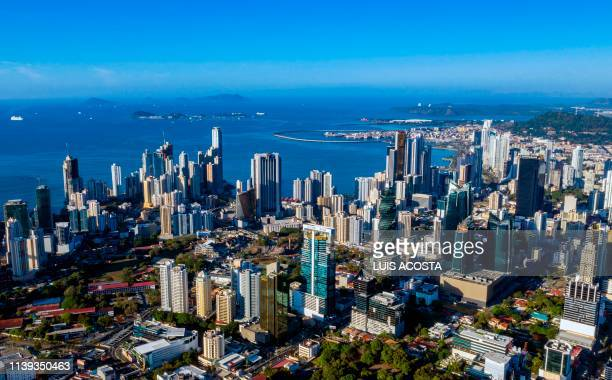 Aerial view of the financial centre of Panama City taken on April 25, 2019. - Improving the international image of Panama, hit by international...