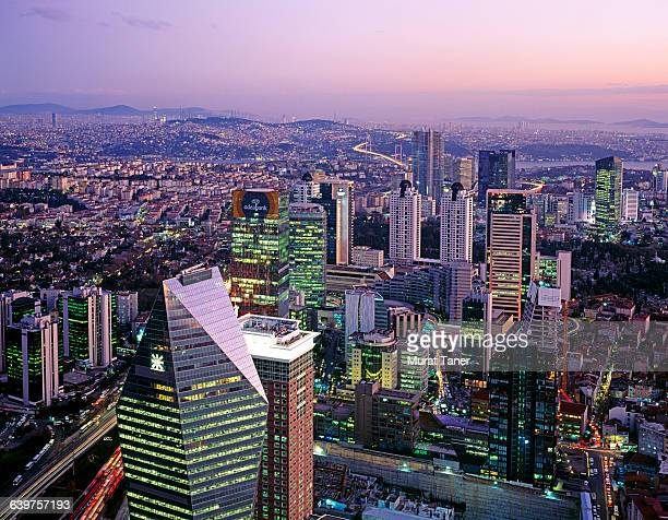 aerial view of the financial district in istanbul - contemporary istanbul foto e immagini stock