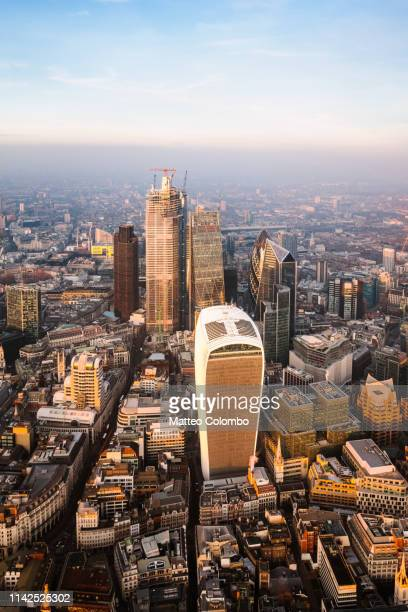 aerial view of the financial district, london, united kingdom - 2019 stock pictures, royalty-free photos & images
