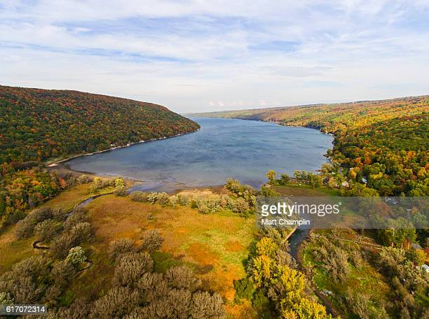 aerial view of the finger lakes in autumn - finger lakes stock pictures, royalty-free photos & images