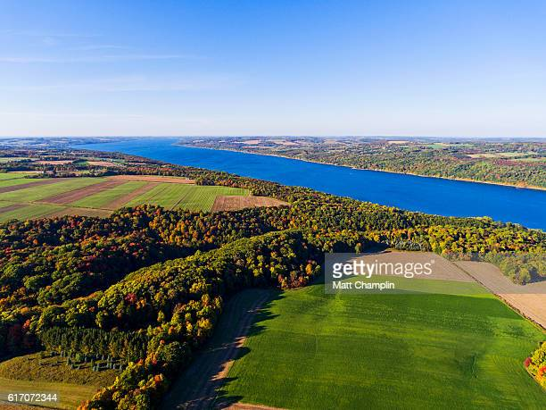 aerial view of the finger lakes in autumn - スカネアトレス湖 ストックフォトと画像