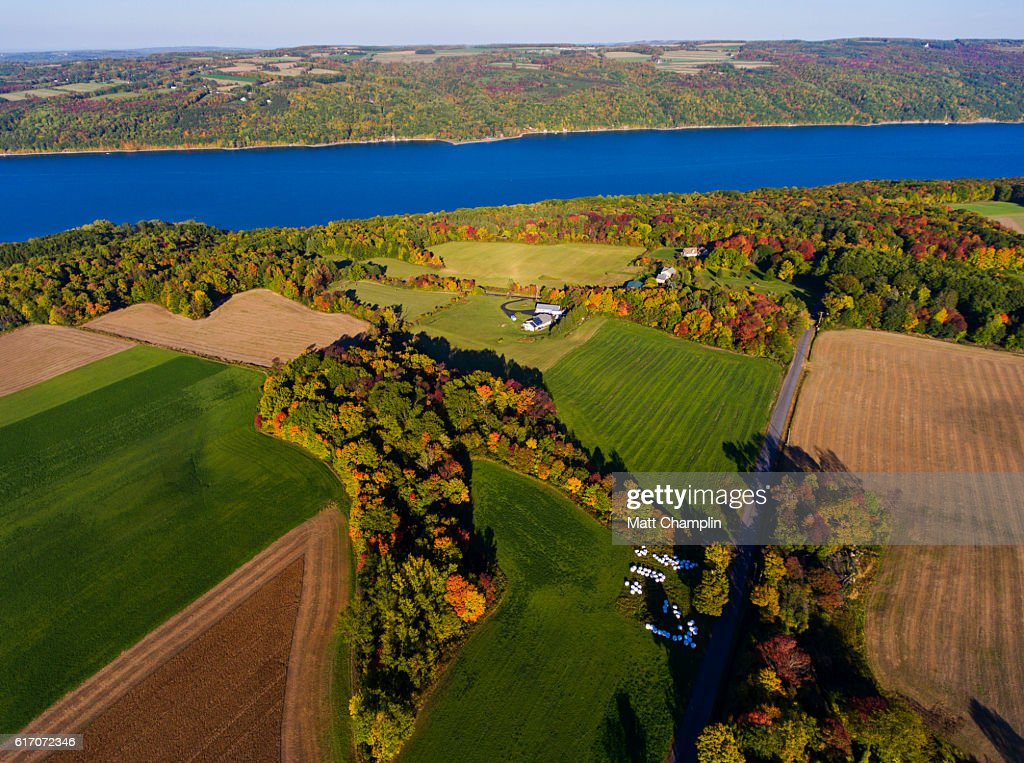 Aerial view of the Finger Lakes in Autumn : Stock Photo