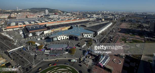 L´HOSPITALET CATALONIA SPAIN Aerial view of the Fira Gran Via Barcelona enclosure in the city of L'Hospitalet