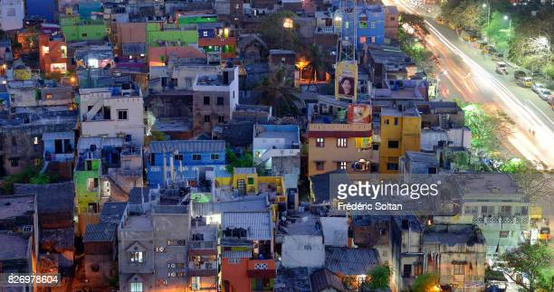 Aerial view of the fisherman houses in Chennai Tamil Nadu on January 20 2017 in Chennai India
