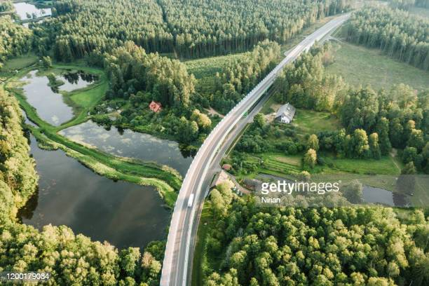 aerial view of the flyover through the forest - poland stock pictures, royalty-free photos & images