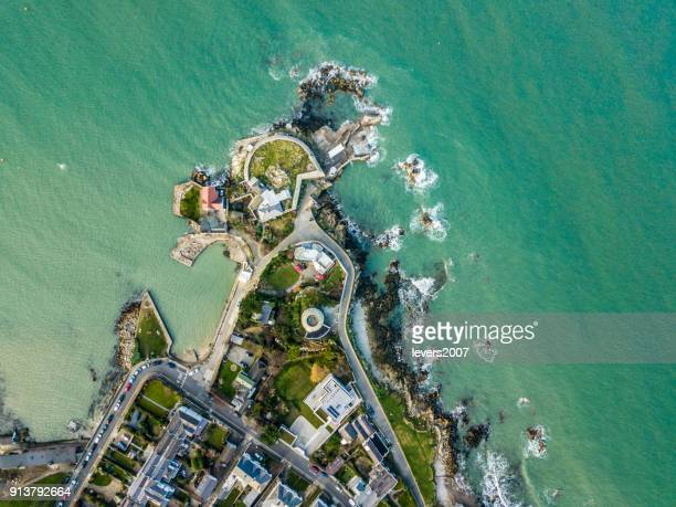 aerial view of the forty foot, sandycove, dun laoighaire, dublin, ireland. - dublin stock pictures, royalty-free photos & images