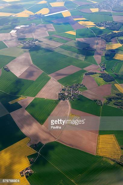 Aerial view of the French countryside before Paris,France