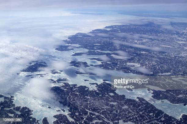 aerial view of the frozen sea and the land