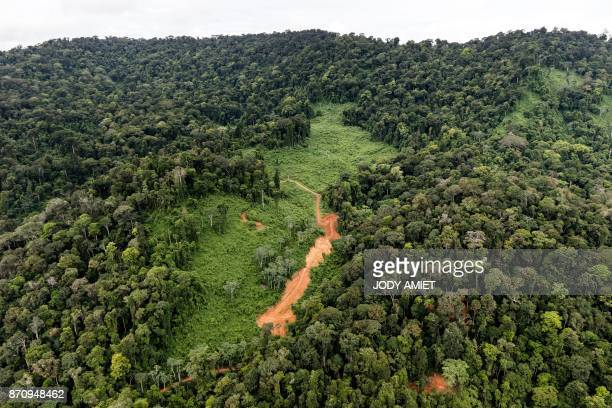 Aerial view of the future Montagne d'Or drilling site that could be exploited by the first French Guiana industrial gold mining project of...