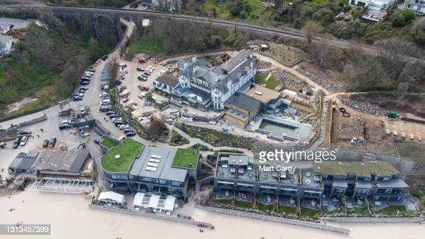 Aerial view of the G7 venue at Carbis Bay, Cornwall on April 17, 2021 in St Ivez, England. The June summit will be the first face-to-face meeting...