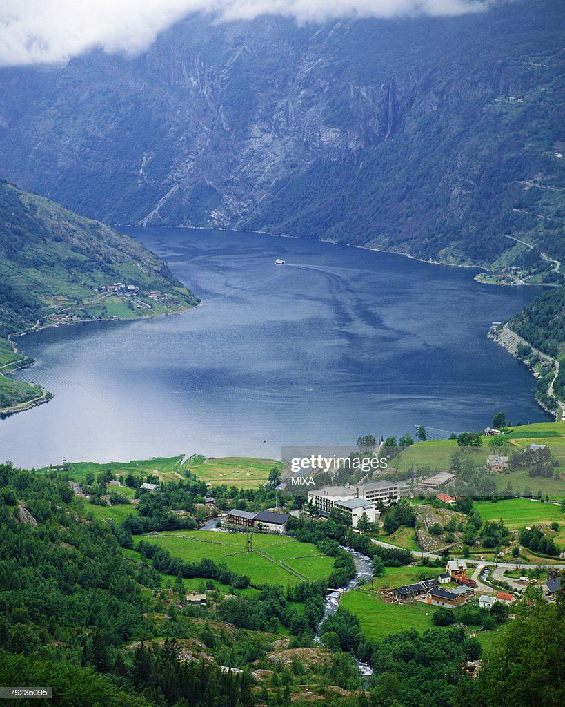Aerial view of the Geiranger fiord, Norway : Stock Photo