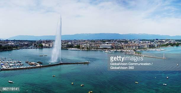 Aerial view of the Geneva's Jet d'Eau