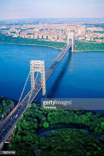 aerial view of the george washington bridge in new york city. - george washington bridge stock pictures, royalty-free photos & images