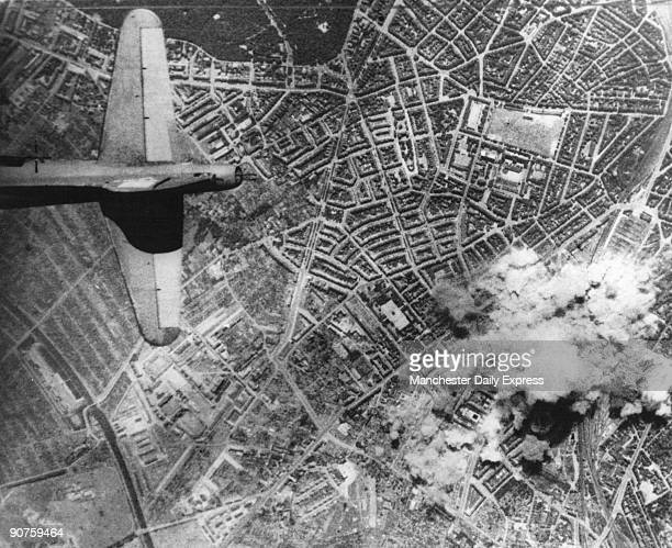 Aerial view of the German city of Hamburg which was heavily bombed by the RAF during the Second World War