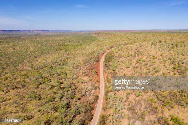 aerial view of the gibb river road near galvins gorge - jeremy woodhouse stock pictures, royalty-free photos & images