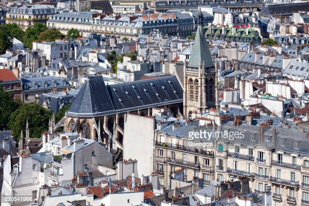 aerial view of the église saint-séverin in paris - gwengoat stock pictures, royalty-free photos & images