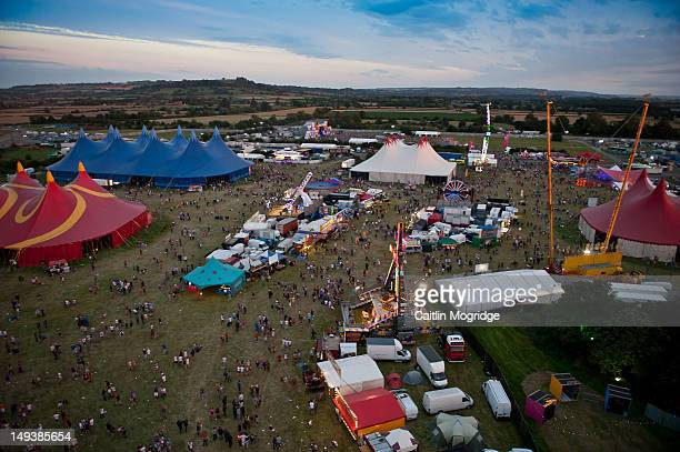Aerial view of the Global Gathering site at Long Marston Airfield on July 27 2012 in StratforduponAvon United Kingdom