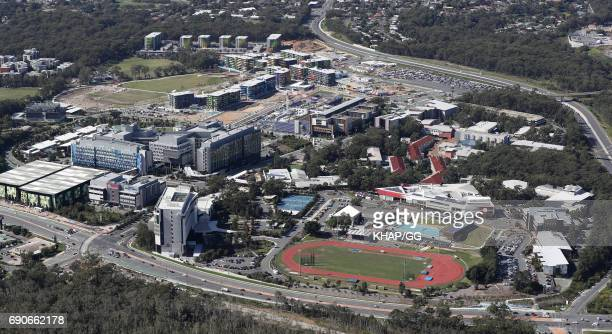 Aerial view of the Gold Coast 2018 Commonwealth Games village site and University Hospital on May 23 2017 on the Gold Coast Australia