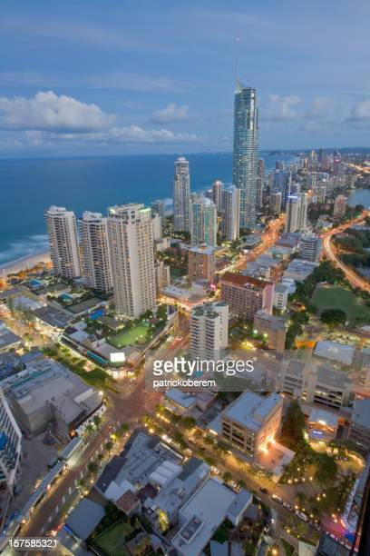 Aerial view of the Gold Coast at dusk time