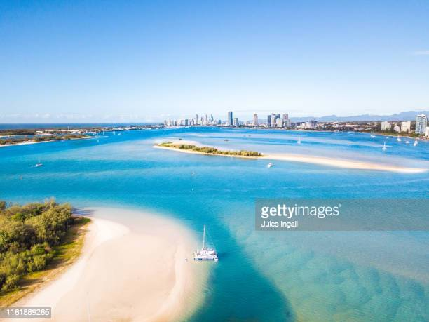 aerial view of the gold coast, australia - queensland stock pictures, royalty-free photos & images