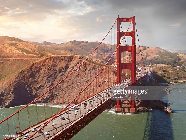 aerial view of the golden gate bridge - golden gate bridge stock pictures, royalty-free photos & images