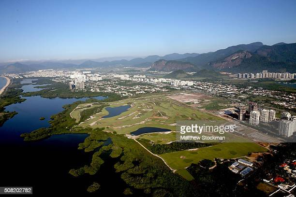 Aerial view of the golf course in the Barra da Tijuca neighborhood with six months to go to the Rio 2016 Olympic Games on February 2 2016 in Rio de...