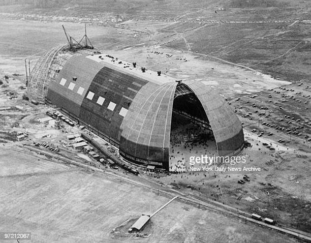 Aerial view of the GoodyearZeppelin hangar while ring laying ceremonies took place for first American built Zeppelin