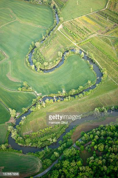 Aerial view of the gooseneck bends in the French Broad River near Brevard, NC