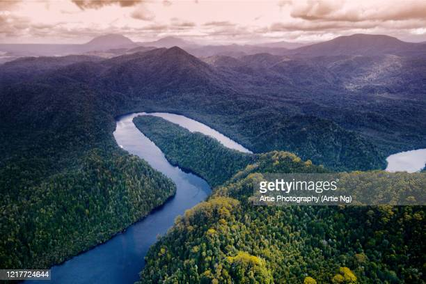 aerial view of the gordon river, franklin-gordon wild rivers national park, western tasmania, australia - タスマニア州 ストックフォトと画像